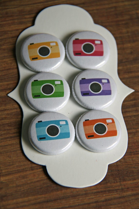 colourful camera flair buttons
