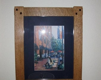 Picture Frame  Mission Style Oak Wood Handcrafted Art Frame