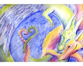 Colorful Dragon Watercolor Painting - The Happy Couple - 5x7 giclee print heart feathered wings
