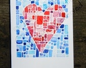 Blank Heart Tile Card watercolor painting red pink blue 5x7 A7 with envelope love mother's day