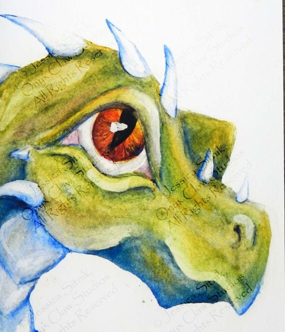Items Similar To Blank Dragon Card Watercolor Painting Green Blue And