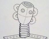 "4x4.5"" Robot Sketch Card"