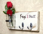 CUSTOM Primitive Shabby Chic Wood Key Holder Custom