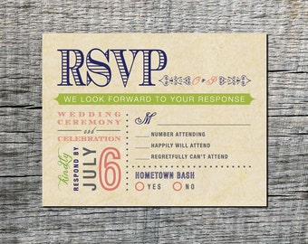 Vintage Wedding RSVP Postcard - Double Event Respond Card (front and back) - Old Fashioned Style - Printable DIY