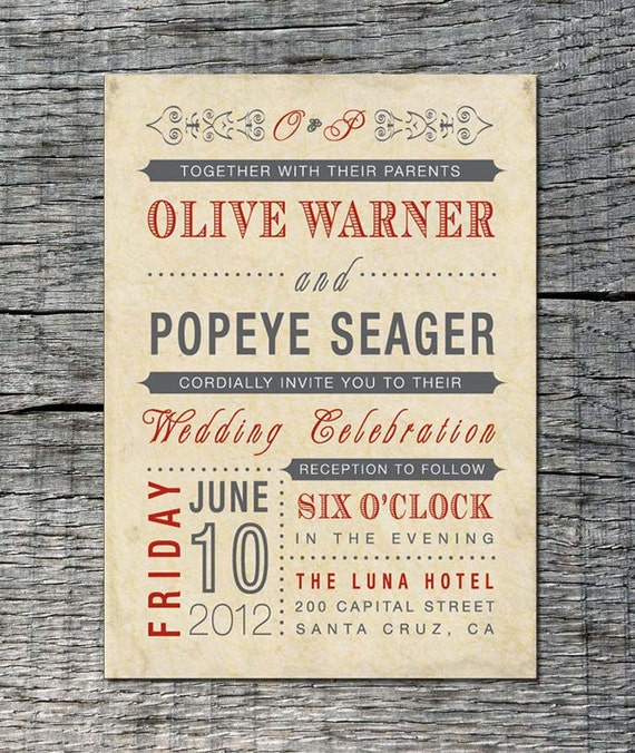 Vintage Wedding Invitation Old Fashioned Style Printable