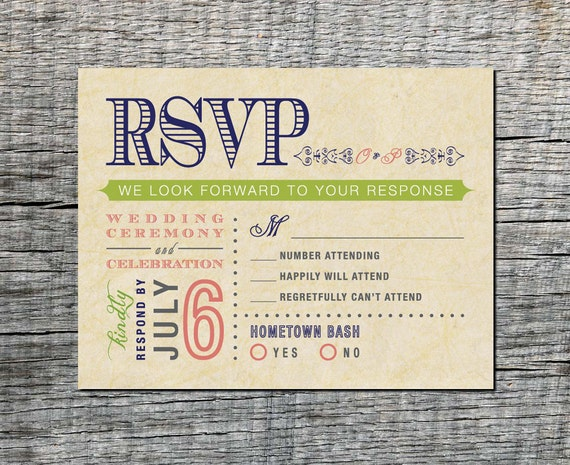 Items Similar To Vintage Wedding Rsvp Postcard Double