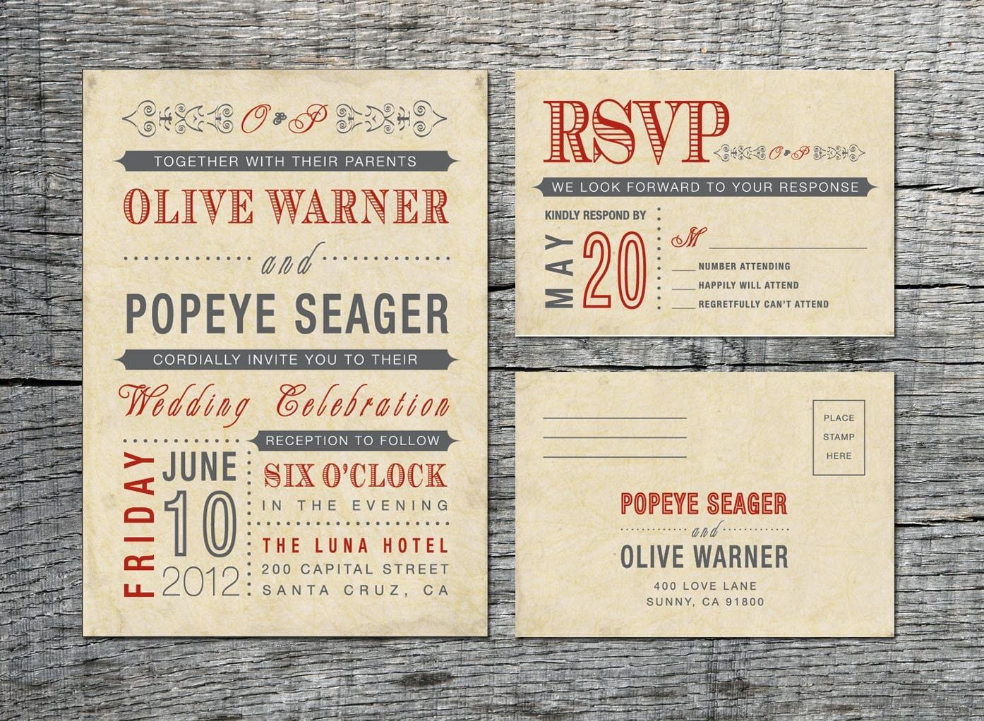 vintage wedding invitation  u0026 rsvp card old by differentdesigns10