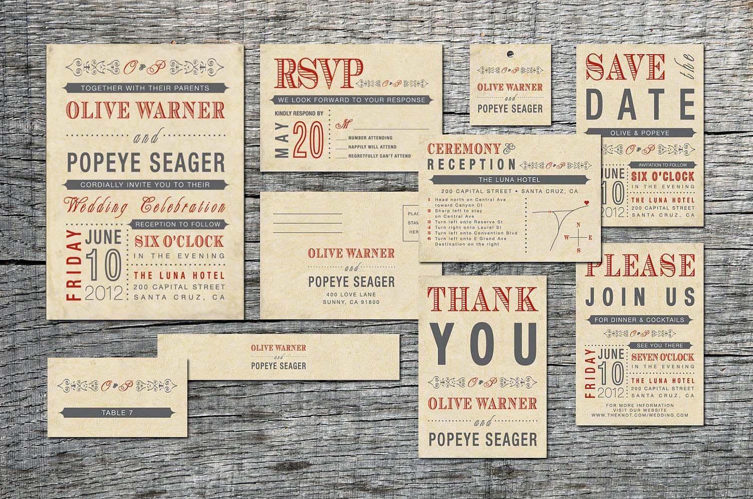 Parts Of Wedding Invitation: Vintage Wedding Invitation Complete Set Old Fashioned Style