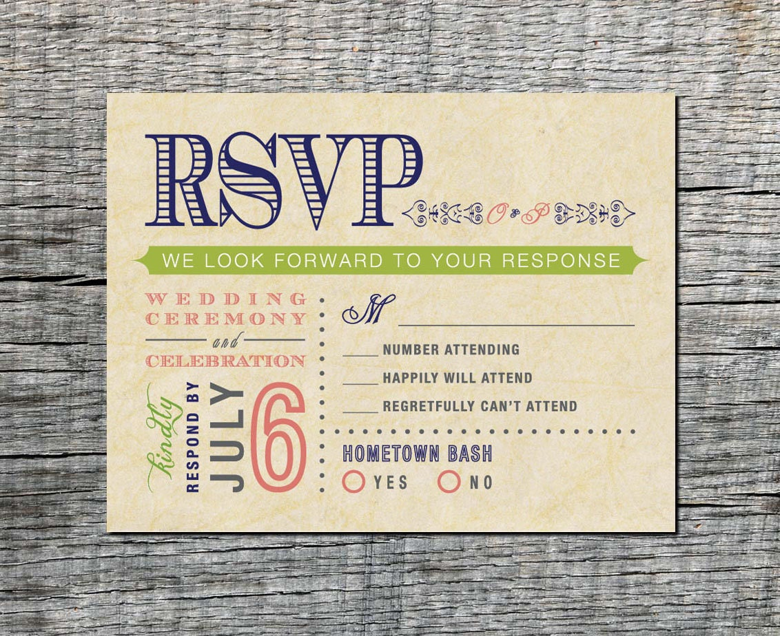 vintage wedding rsvp postcard double event respond card