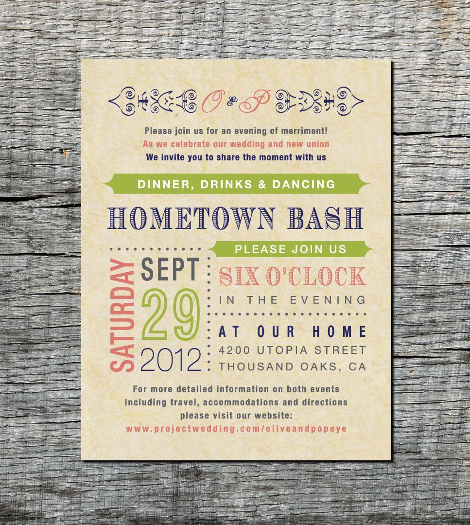 Reception Card Wedding Invitation Old Fashioned Style DIY