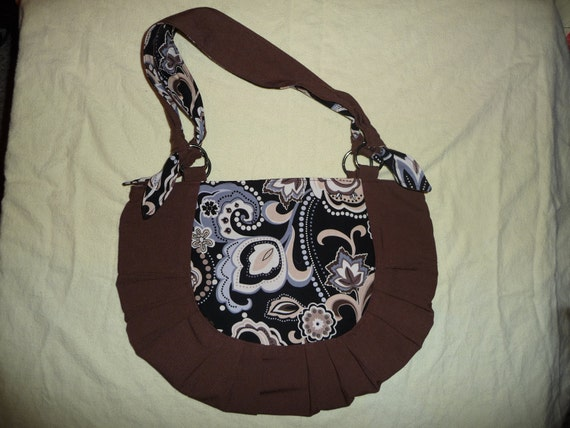 Large Purse/ Handbag / Tote with shoulder strap and zipper closure, made with brown linen and fun cotton pattern