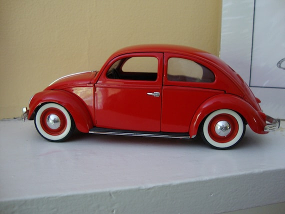 Vintage Volkswagen Bug Metal Toy Car Red Made in France - Zoooommmm........... VW Bug