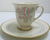 Franciscan Pottery Rossmore pattern Footed Demitasse Cup and Saucer - ca. 1940's