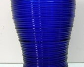 COBALT 12 oz Bulb Top Tea Tumbler Imperial Glass Company - Line 701 Reeded AKA Whirlspool
