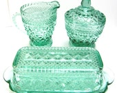 Anchor Hocking Wexford Table set - 5 piece set - Hard to Find Green