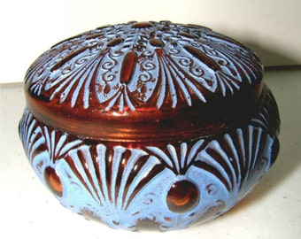 ANTIQUE Julien Viard Hand Painted Amber Glass Powder Box - ca.  early 1900's