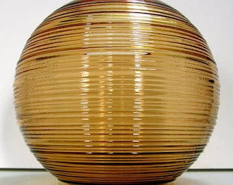 Imperial Reeded Line 701 Ball Vase - 6 Inch - AMBER