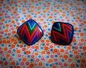 tubular zig-zag vintage clip-on earrings