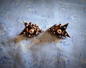vintage silver art deco clip-on earrings