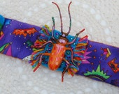 Queen Beetle Bracelet, Quirky, Kawaii, Colorful, Bug, Insect, Purple, Toy, Artistic, Cute, Kitch, Folkart