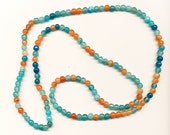 "Quartz Necklace - 6mm Round Blue/Orange/Mulit Beads 32"" Length"