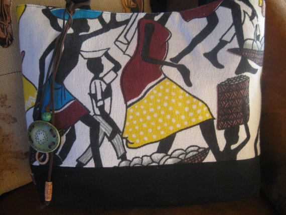 Large African Print Travel Handbag Purse Tote