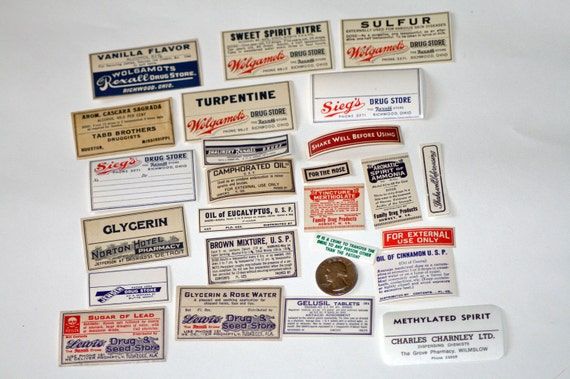 25 Wonderful Variety of Old Drugstore Labels Vintage and Antique Mix olivemlouDIY
