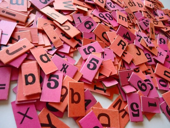 100 Little Pink and Orange Letters Numbers Symbols Pieces for Altered Art olivemlouDIY