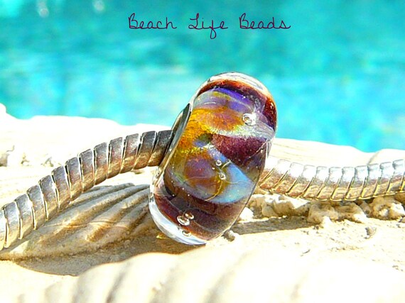 Reserved For Marianne BEACH LIFE OPAL Fully Lined Sterling Silver Big Hole Bead Troll Trollbeads Chamilia and European Charm Lampwork