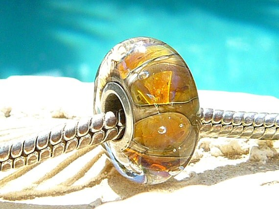Reserved For Selena GOLDEN TIKI OPAL Fully Lined Sterling Silver Big Hole Bead fits Trollbeads Chamilia and European Charm Handmade Lampwork