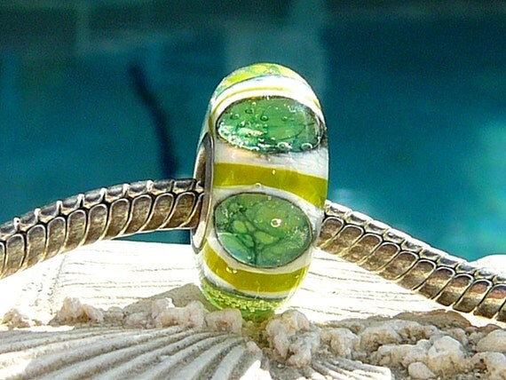 Reserved For Susanna LIME TIKI LIGHTS Fully Lined Sterling Silver Big Hole Bead Trollbeads Chamilia and European Charm Bracelets