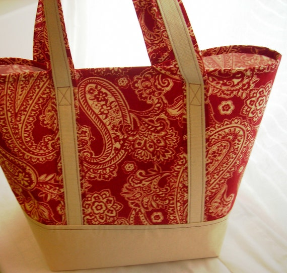Super strong reusable grocery/shopping bag -- Red paisley