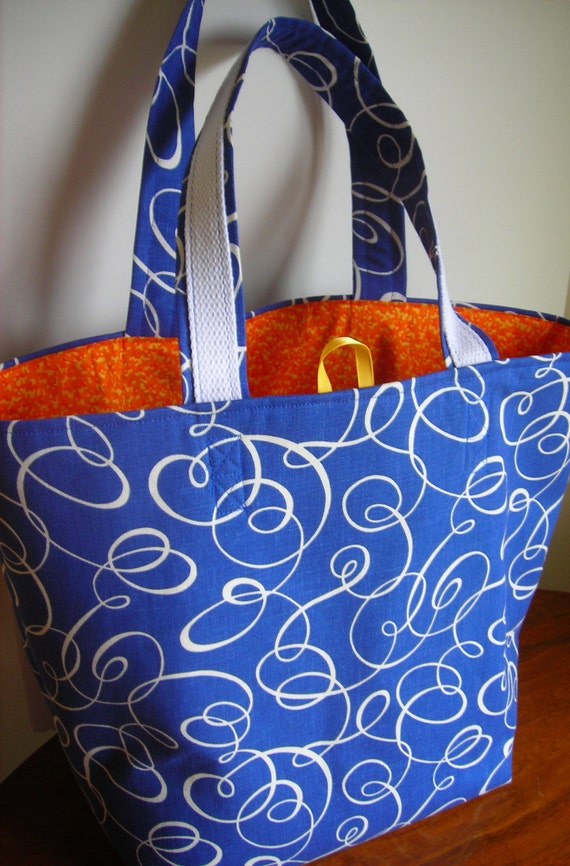 SALE -- 25% OFF -- Market tote - Grocery/shopping bag - Fully lined - Strong bag - Blue and Orange