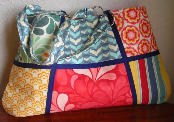 Large Work Tote in Moda's Salt Air Color Blocks -- for Mother's Day