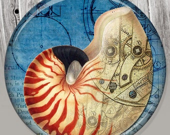Nautilus Shell Pocket Mirror, Photo Mirror, Compact Mirror of Steampunk Illustration Image A91