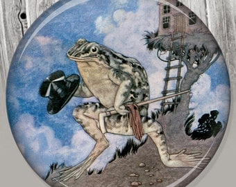 Storybook Frog Pocket Mirror, Photo Mirror, Compact Mirror Vintage Storybook Illustration A56