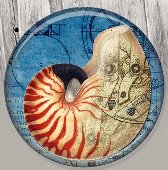 Nautilus Shell Pocket Mirror, Photo Mirror, Compact Mirror of Steampunk Illustration Image A91