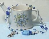 O O A K - Glass Beaded Lanyard ID Badge Holder - BLUE MARBLE - C102