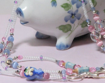 O O A K - Ceramic & Glass Beaded Lanyard ID Badge Holder (with magnetic clasp) - Baby BOY - Blue and Pink Ribbon - SIDS Awareness - AW102