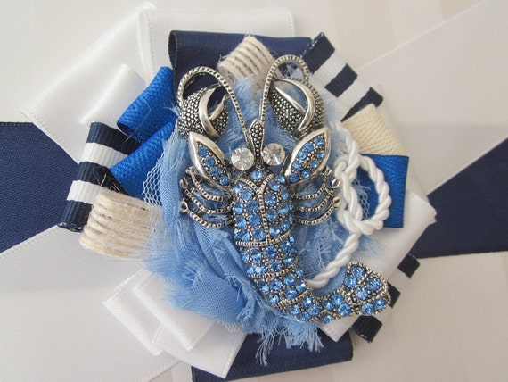 Nautical blue Flowergirl Lobster sash, wedding sash / belt