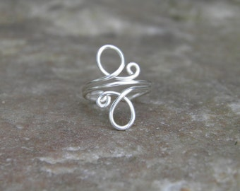 "Toe ring... ""Whirls"" sterling silver wire wrapped toe ring."