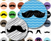 Moustache Circles Digital Collage Sheet 20mm Printable round images bottle caps, magnets, resin pendants cabochon JPG File 019
