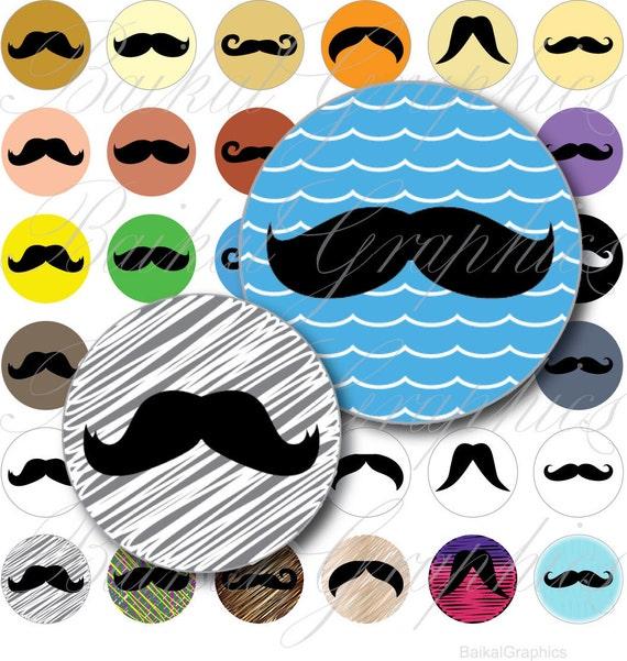 Moustache Circles Digital Collage Sheet 20mm Printable round images bottle caps, magnets, resin pendants cabochon JPG File 019