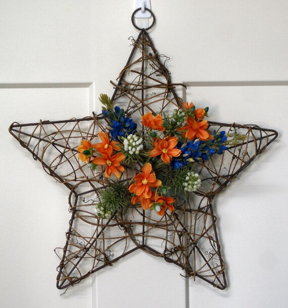 Texas star wreath, texas state flower, blue bonnet, wildflowers