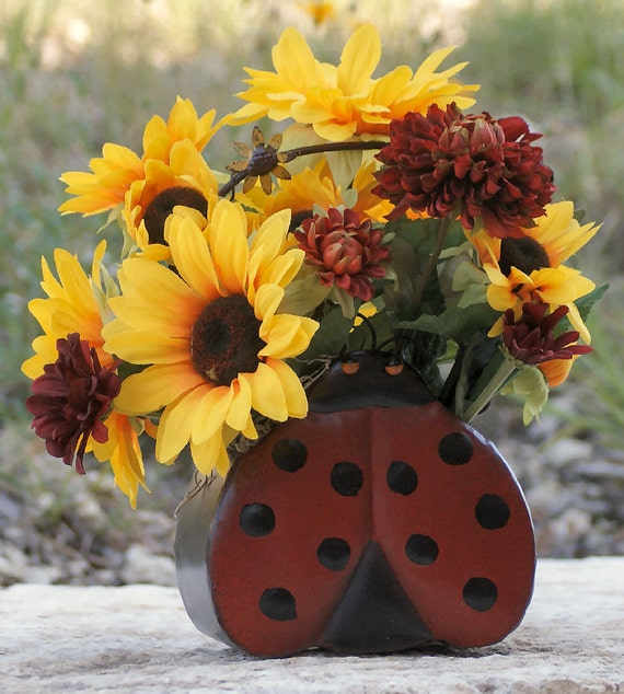 Sunflower Home Decor: Silk Floral Summer Lady Bug Sunflower Home Decor Kids