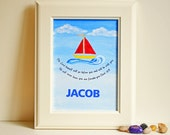 Hand Painted Sail boat Bible Verse Wall Art- New Baby/Baptism/Christening Gift - 5X7 size