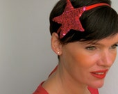 STAR Red & Pink Sequined Headband with Ribbon