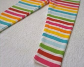 GIRLS Leggings. Rainbow Stripe Stretch Cotton Legging Footless Tights. Size up to 12M.