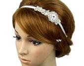 Vintage Inspired Crystal Rhinestone Bridal Headband, Art Deco Wedding Bridal Headband, Wedding Hair Accessories