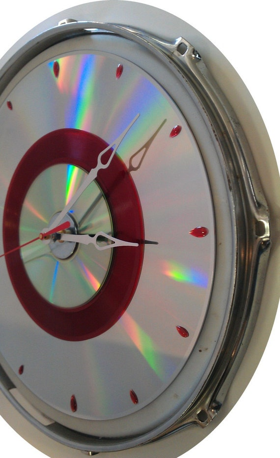 """13"""" Clear Drum skin Clock  - Real drum skin w/ rare red 45 record, Cd & Laser disc"""